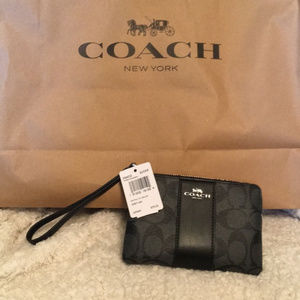 Coach Wristlet Black Smoke  NWT
